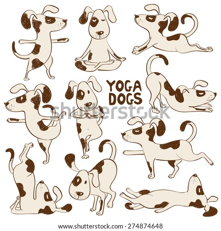 Set of isolated cartoon funny dogs icons doing yoga position. - stock vector