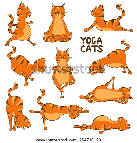 Set of isolated cartoon funny red cats icons doing yoga position - stock vector