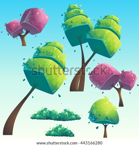 Set of isolated cartoon natural futuristic trees. Vector objects for design, graphics, print, magazine, book, games. Bright background images for create videos or web graphic design, user interface - stock vector