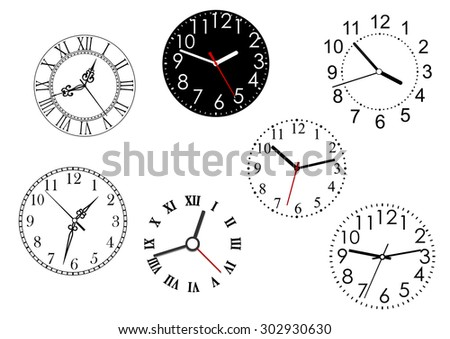 Set of isolated clock dials icons for time concept design - stock vector