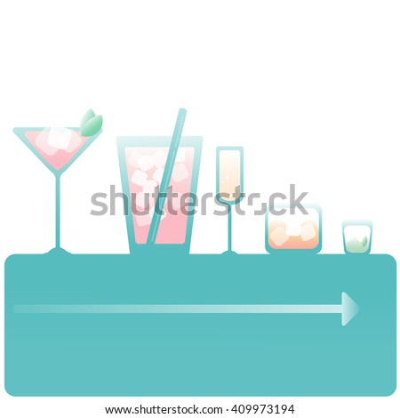 Set of isolated cocktails with fruits in highball glasses. Garnished, decorated, colorful, clean,vivid colors. - stock vector