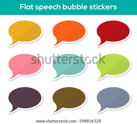 Set of 9 isolated colorful flat speech bubble stickers - stock vector