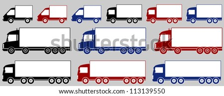 set of isolated colorful heavy delivery trucks