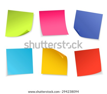 Set of isolated colorful paper notes. Vector illustration.