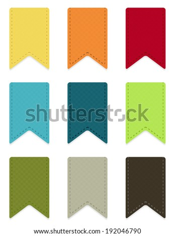 Set of 9 isolated colorful ribbons with light shadow - stock vector