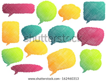 Set of 13 isolated colorful speach bubbles in different colors and shapes