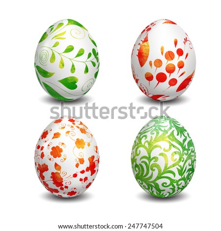 Set of Isolated Easter eggs. Watercolor paints. Happy Easter. Vector objects. 3D. Realistic Easter eggs. Vector background. Folk painting. - stock vector