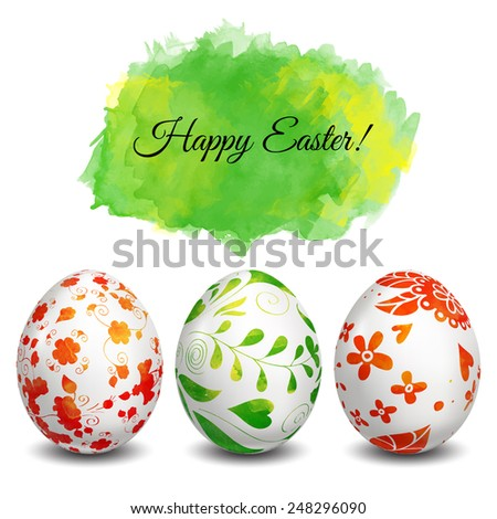 Set of Isolated Easter eggs. Watercolor paints. Happy Easter. Vector objects. 3D. Realistic Easter eggs. Vector background. Folk floral painting.  - stock vector