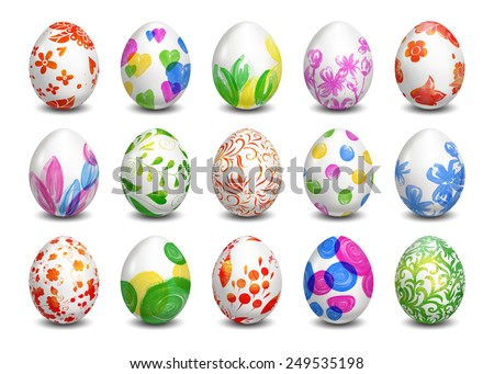 Set of Isolated Easter eggs. Watercolor paints. Happy Easter. Vector objects. 3D. Realistic Easter eggs. Vector background. Folk floral painting. Russian painting. - stock vector