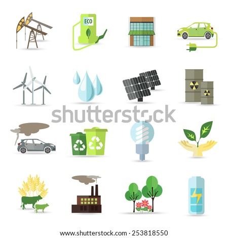 Set of isolated  ecology icons. Flat style design isolated icons. Vector illustration.