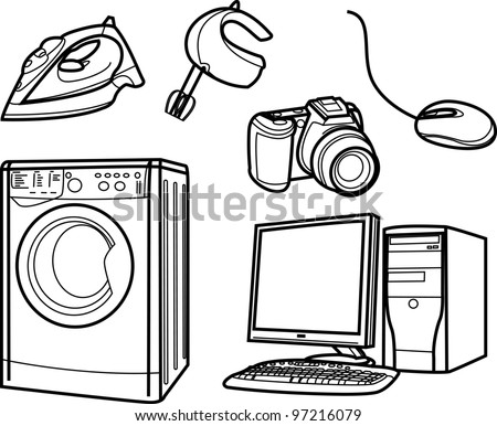 set of isolated electronic objects by line, home appliance - stock vector