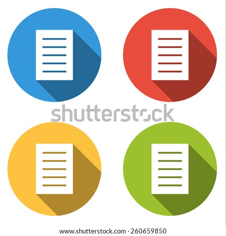 Set of 4 isolated flat colorful buttons for file with long shadow - stock vector