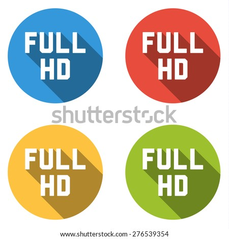 Set of 4 isolated flat colorful buttons for FULL HD sign with long shadow