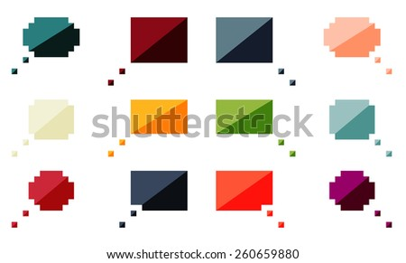 Set of 12 isolated flat colorful speech bubbles - stock vector
