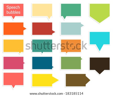 Set of 17 isolated flat speech bubbles in different shapes and colors with shadow - stock vector