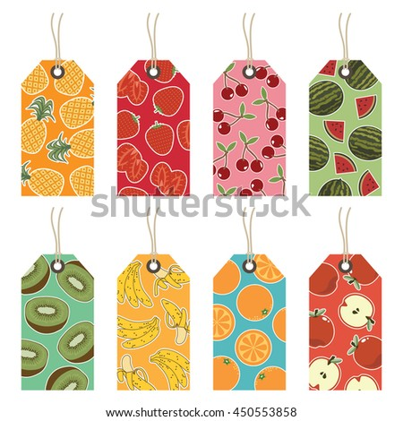 set of isolated fruit gift tags, pineapple strawberry cherry melon kiwi banana orange and apple