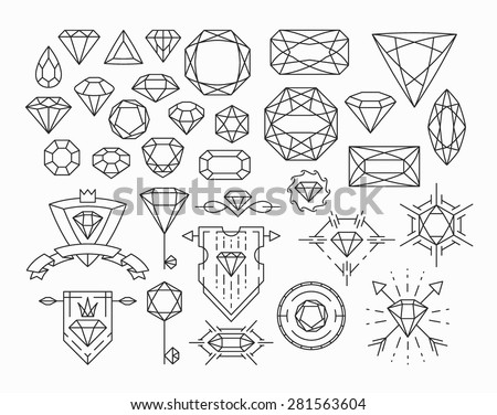 Set of isolated gem stones and thin line design elements, emblems with diamonds.  - stock vector