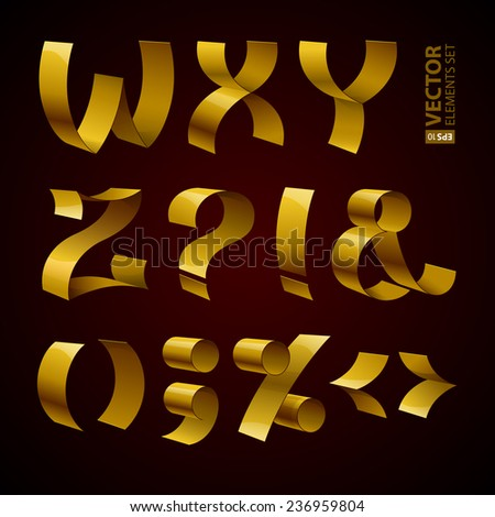 Set of isolated golden shiny ribbon font W-Z letters and punctuation marks. RGB EPS 10 vector illustration - stock vector