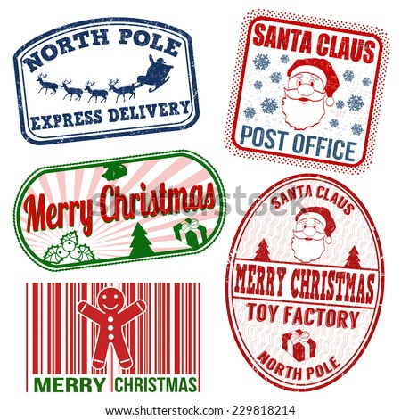 Set of isolated grunge Christmas stamps on white background, vector illustration