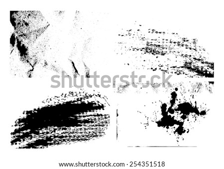 Set of isolated grunge textures illustration background. EPS10 vector file. - stock vector