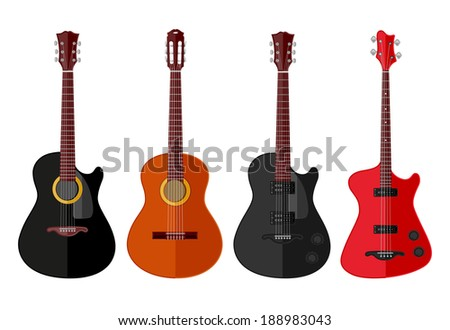 Set of isolated guitars. Flat design. Vector illustration.