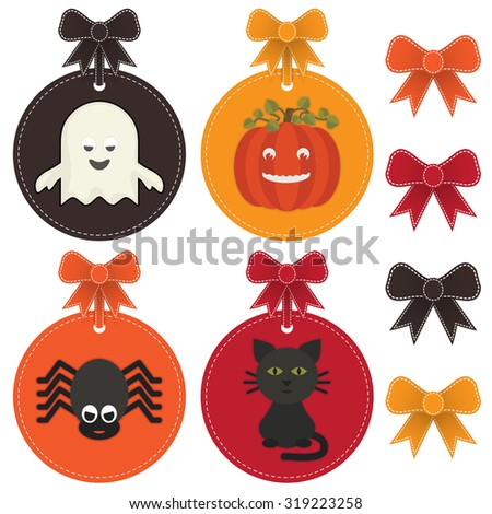 set of isolated halloween label decorations with ribbons - stock vector