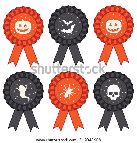 set of isolated halloween rosette ribbon decorations in black and orange - stock vector