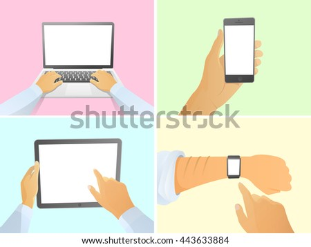 Set of isolated hand holding smart modern gadgets with white screen. Laptop, phone, tablet pc, smart watch. cartoon vector illustration. modern flat design. - stock vector