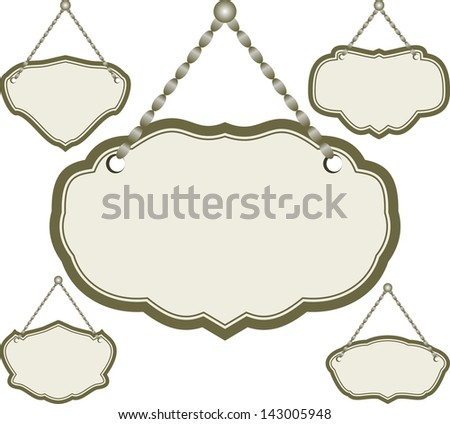 set of isolated hanging sign