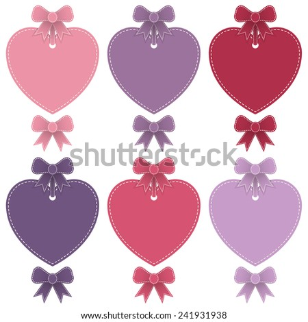 set of isolated heart shaped labels and stitched ribbon bows, with copy space - stock vector