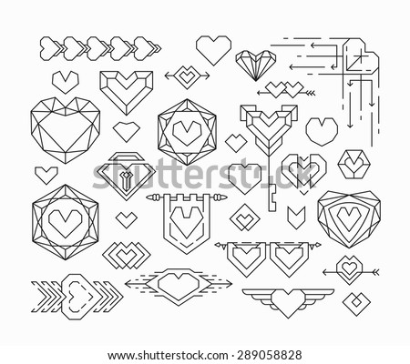 Set of isolated hearts and thin line design elements, romantical emblems with hearts - stock vector