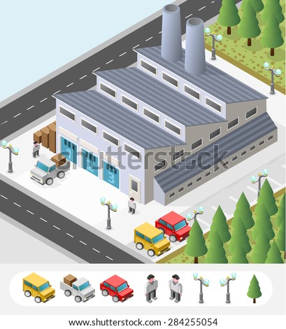 Set of Isolated High Quality Isometric City Elements. A Factory on White Background. - stock vector
