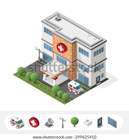 Set of Isolated High Quality Isometric City Elements. Hospital on White Background. - stock vector