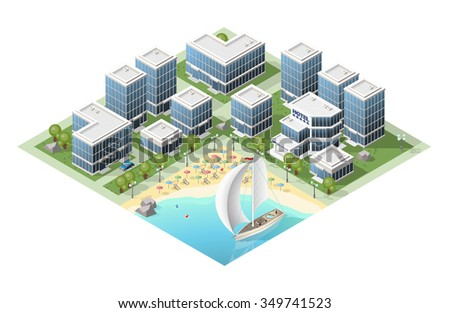 Set of Isolated High Quality Isometric City Elements on White Background.