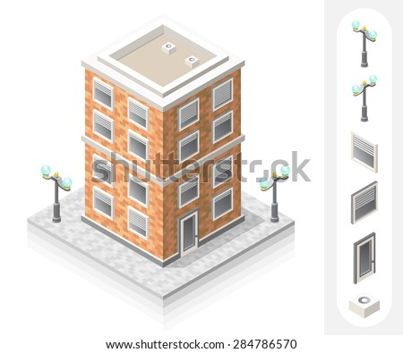 Set of Isolated High Quality Isometric City Elements. Residential on White Background. - stock vector