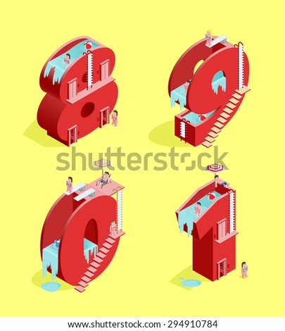 Set of Isolated High Quality Isometric Red Numbers on Yellow Background ( Eight , Nine , Zero and One ). Vector Illustration. - stock vector
