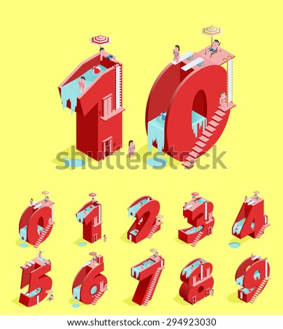 Set of Isolated High Quality Isometric Red Numbers on Yellow Background ( Zero , One , Two , Three , Four , Five , Six , Seven , Eight and Nine ). Vector Illustration. - stock vector