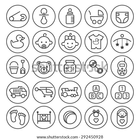 Set of Isolated High Quality Universal Standard Minimal Simple Black Thin Line Baby Icons on Circular Buttons on White Background. - stock vector