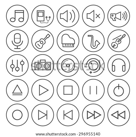 Set of Isolated High Quality Universal Standard Minimal Simple Black Thin Line Music Icons on Circular Buttons on White Background. - stock vector