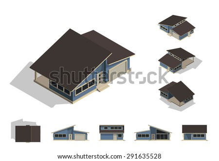 Set of isolated house building kit creation, detailed urban and rural house concept design in top, side, front, and back elevation view with isometric view from all four angle, vector illustration. - stock vector