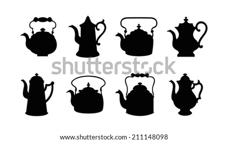 Set of isolated icon silhouette Kettles, Teapots, Coffee pot.  Abstract design logo. Logotype art - vector  - stock vector