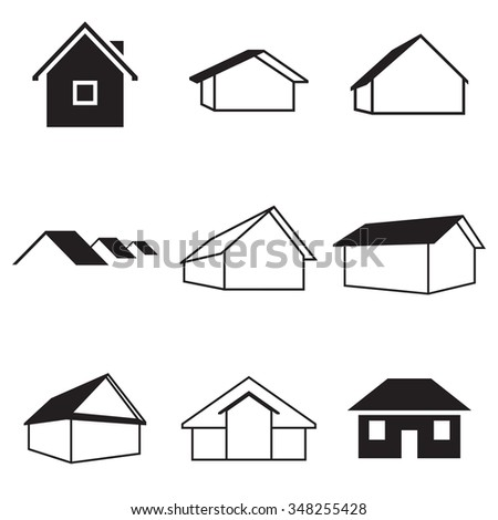 Set of isolated icons on a theme houses - stock vector