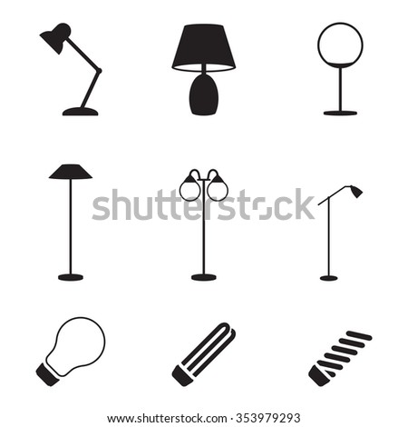 Set of isolated icons on a theme lamps