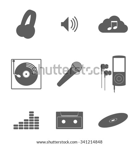 Set of isolated icons on a theme music