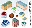 Set of Isolated Isometric Buildings. Illustration of Various Urban and Rural Houses and Dwellings, Detailed Vector Clip Art with Easy Editable Colors. - stock vector