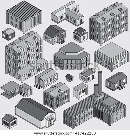 Set of Isolated Isometric Buildings. Illustration of Various Urban and Rural Houses. Vector Clip Art