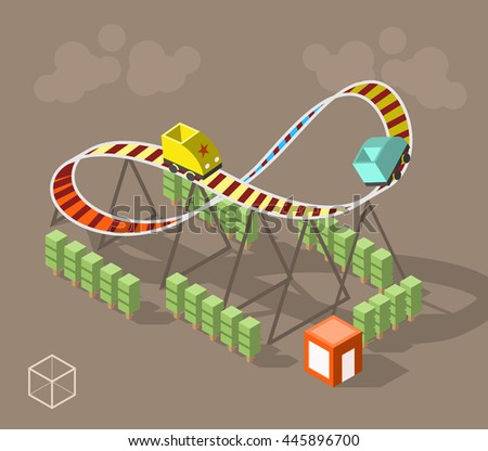 Set of Isolated Isometric Minimal City Elements. Roller Coaster with Shadows on Dark Background.