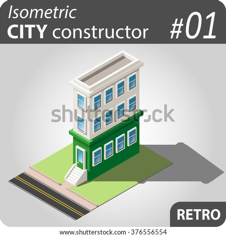Set of isolated isometric private buildings. Illustration of urban and rural houses and dwellings. For your infographic, map or business design. Detailed vector clip art with easy editable colors.