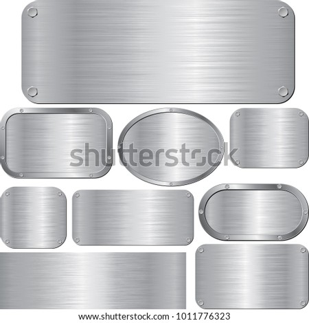 set of isolated metal textured plaques