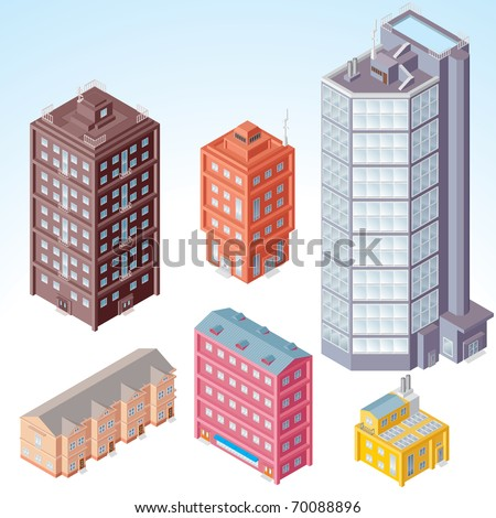 Set of isolated Modern City Buildings - isometric illustration of various urban dwellings, detailed vector clip-art with separated elements and easy editable colors - stock vector